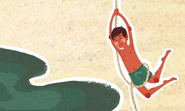 Drawing of a child swinging on a rope